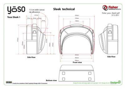 Fisher Outdoor Yoso Sleek Technical Bag Diagram