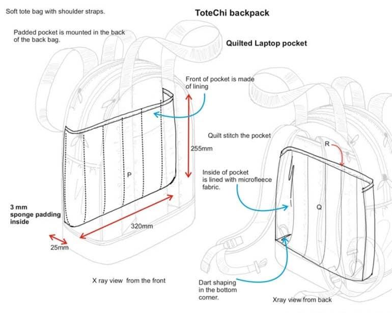Bag design product drawings
