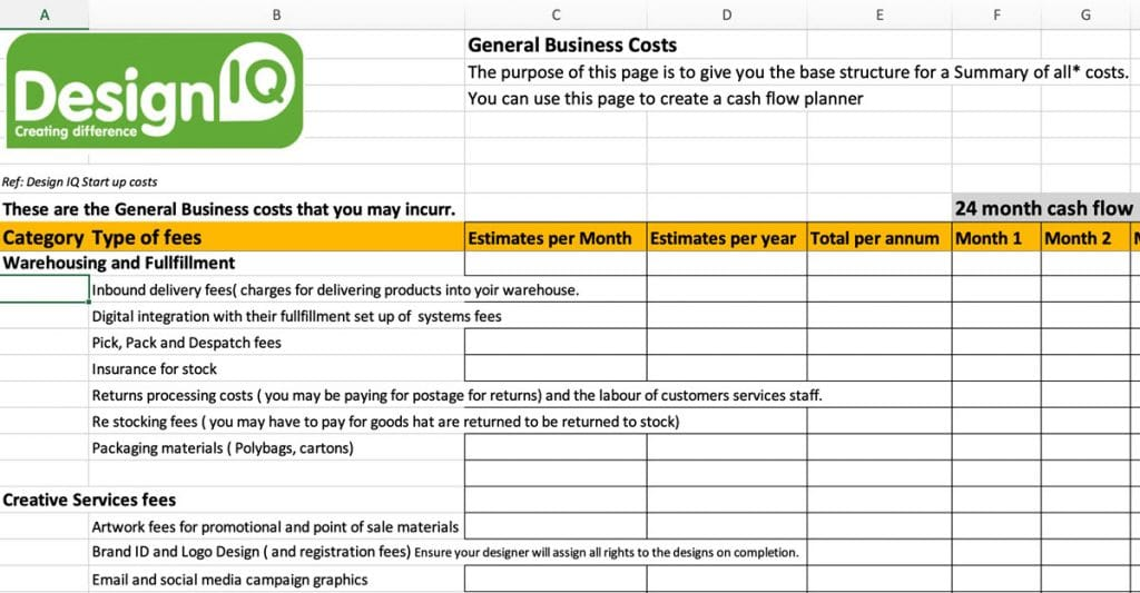 Design IQ, example of start-up business costs