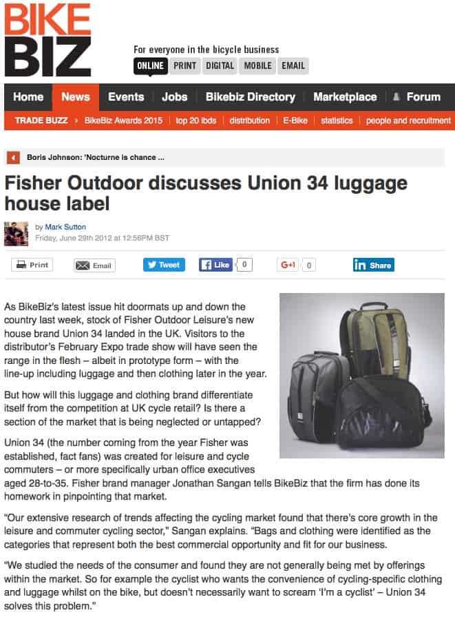 Union 34 Bike Bag review in BikeBiz. Designed by DesignIQ