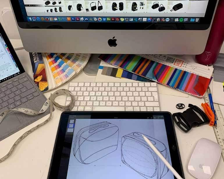 Bag design process drawings and screenshots