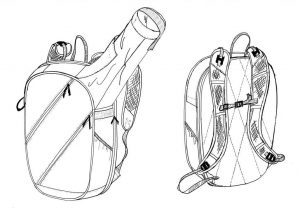 outline drawing for a yog inspired backpack/rucksack