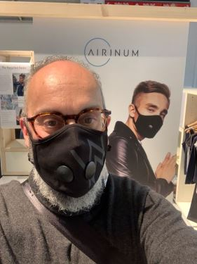 Bag designer Guy Mathiot in a new facemask