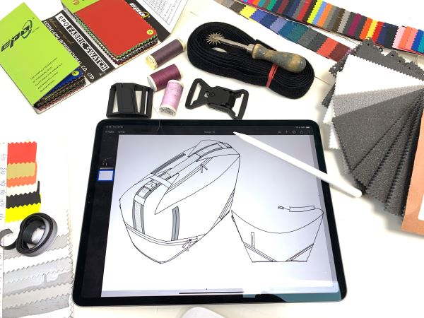 Designing a bag on my graphics tablet